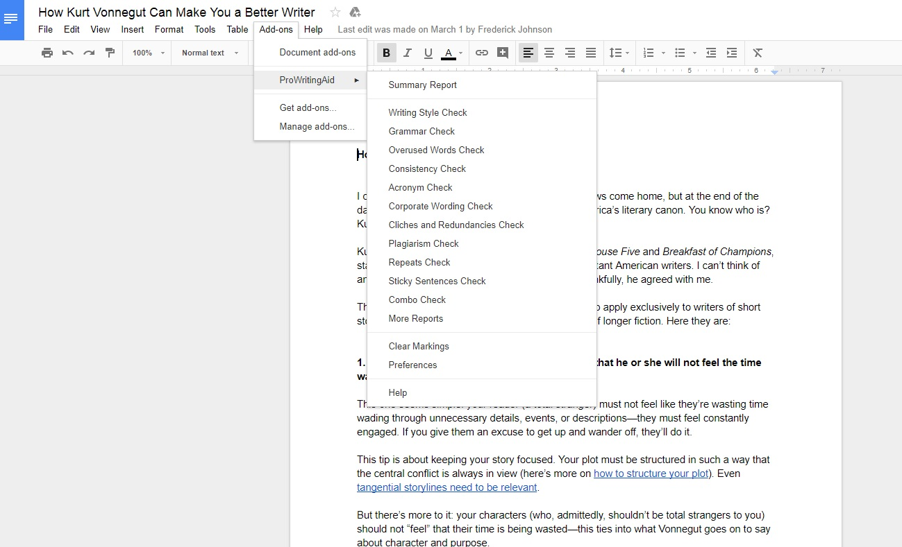 Getting Started with ProWritingAid's Google Docs Add-on.