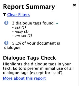 ProWritingAid Dialogue Tags Check